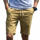 Men Simple Casual Beach Shorts  Dark khaki_L