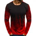 Men Simple Casual Gradient Long Sleeve Basic T Shirts Fitness Gym T Shirt Tops red XL