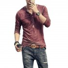 Men Simple Casual Long-Sleeve Slim Henley Shirt Simple Solid Color Button Tops Red wine_L