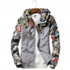 Men Simple Casual Loose Hooded Jacket Camouflage Print Stitching Coat Tops  gray_XL