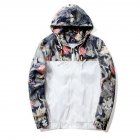 Men Simple Casual Loose Hooded Jacket Camouflage Print Stitching Coat Tops  white_XL