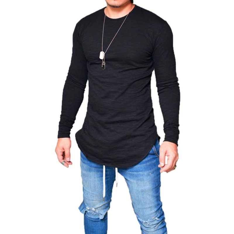 Simple Slim Long Sleeve T-shirt black XXL