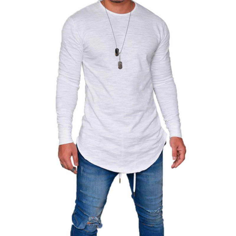 Men Simple Solid Color Round Neck T-shirt