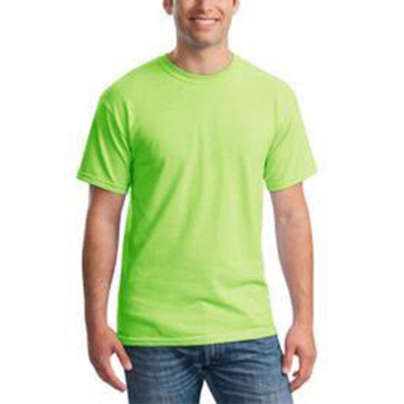 Men Simple Round Collar Cotton Base T-shirt