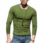 Men Simple Long-Sleeve Round Neck Tops