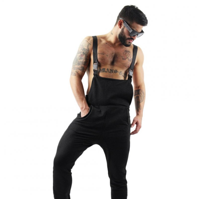 Men Slim Cotton Middle Waist Suspender Trousers black_XXXL