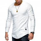 Men Slim Fit O Neck Long Sleeve Muscle Shirt Casual Solid Color Tops Blouse white L