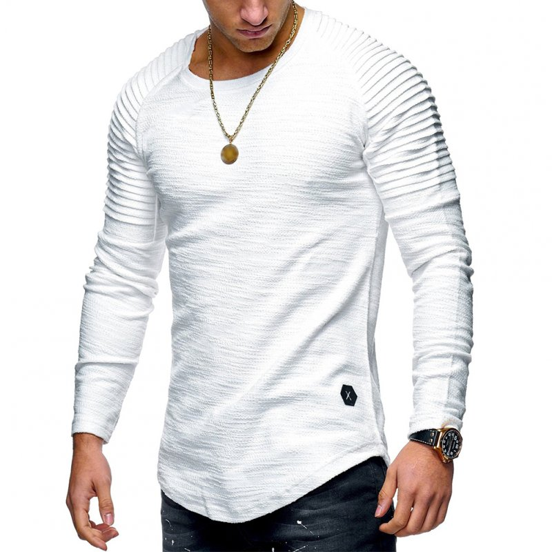 Men Slim Fit O Neck Long Sleeve Muscle Shirt Casual Solid Color Tops Blouse white_L