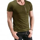 Men Slim Fit O-Neck Ripped Short Sleeve Muscle Tee T-shirt ArmyGreen_XXL