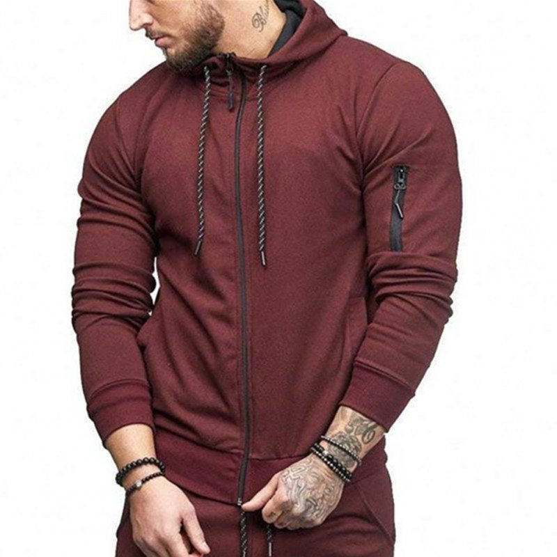 Men Slim Fit Sports Hoodies Zipper Closure Fashion Casual Jacket Sweatshirts  wine Red_XL