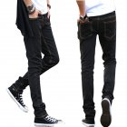 Men Slim Jeans Small Trouser Legs Medium Waist Elastic Jeans Yellow line black cloth pants_M=28
