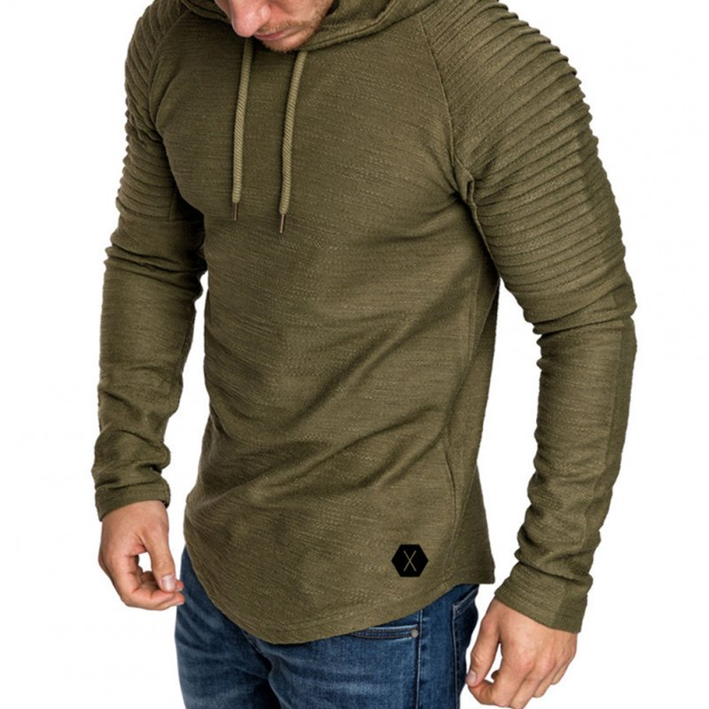 Men Slim Solid Color Long Sleeve T-shirt Casual Hooded Tops Blouse ArmyGreen_M