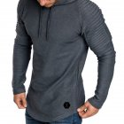 Men Slim Solid Color Long Sleeve T-shirt Casual Hooded Tops Blouse gray_M
