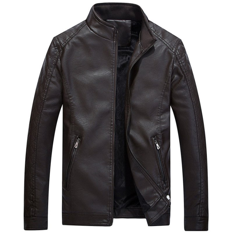 Men Slim Standing Collar PU Jacket Outdoor Casual Thicken Zipper Coat Tops coffee_XXL
