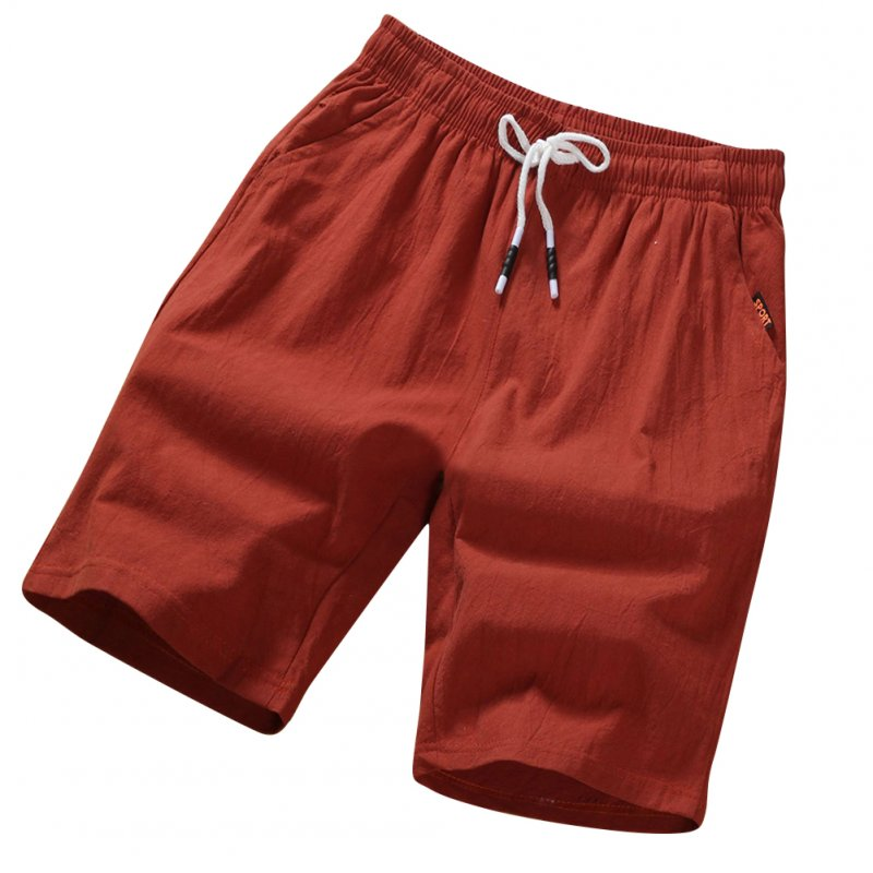 Men Soft Cotton Loose Casual Shorts Middle Length Pants red_L