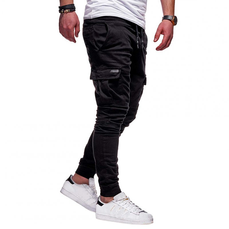 Men Solid Color Casual Slacks