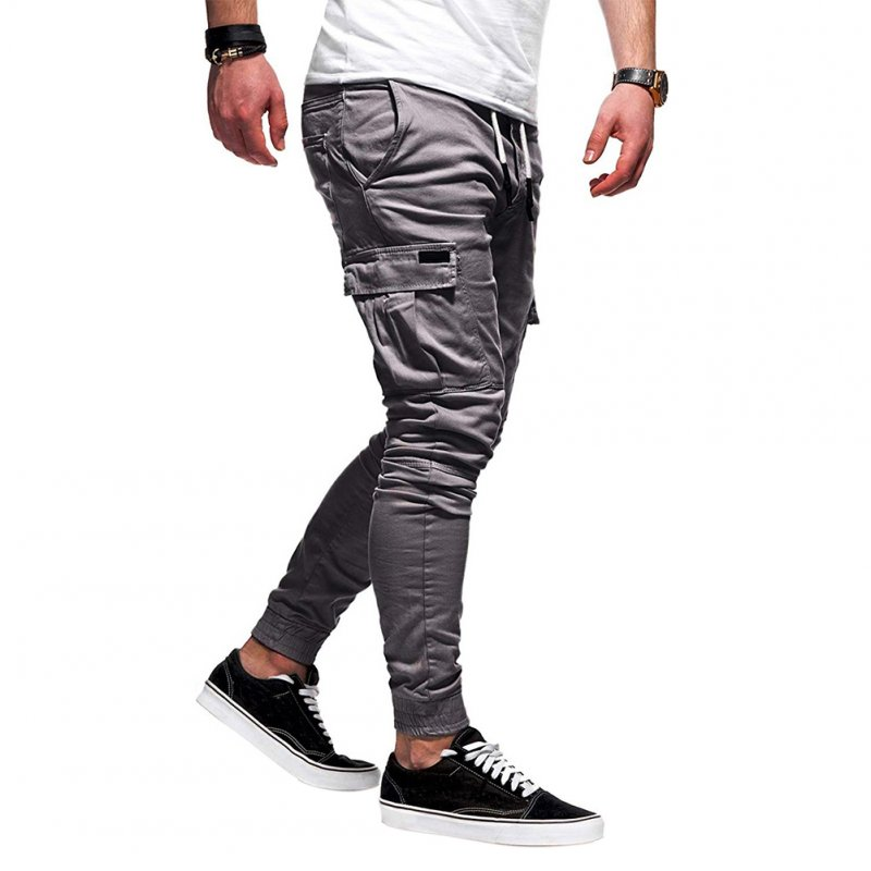 Men Casual Soft Cotton Pants gray XL