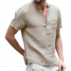 Men Solid Color Linen Cotton Shirt Short Sleeve Breathable Fashion T-shirt Beige_L