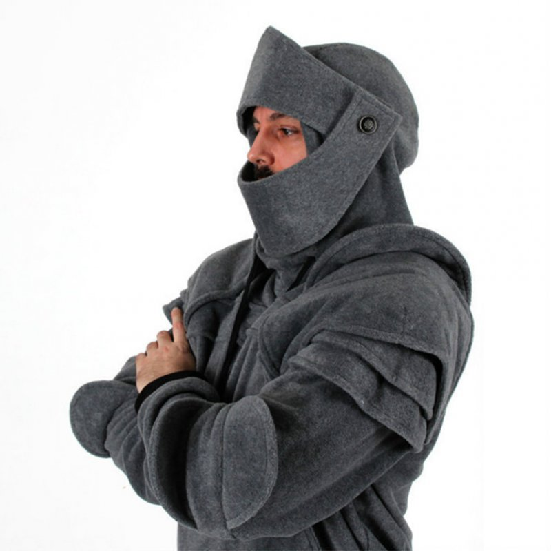 Men Solid Color Retro Elbow Drawstring Mask Knight Sweater  gray_XL