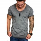 Men Solid Color Round Collar Slim Short Sleeve T Shirt  gray_L