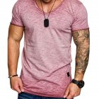 Men Solid Color Round Collar Slim Short Sleeve T Shirt  Wine red_XL