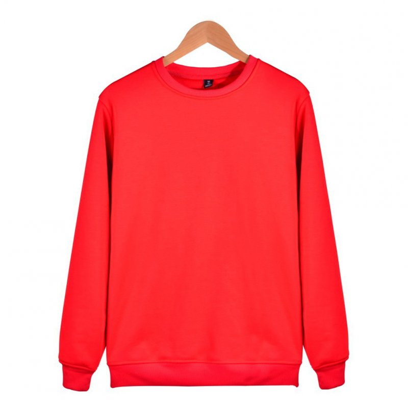 Men Solid Color Round Neck Long Sleeve Sweater Winter Warm Coat Tops red_XXL