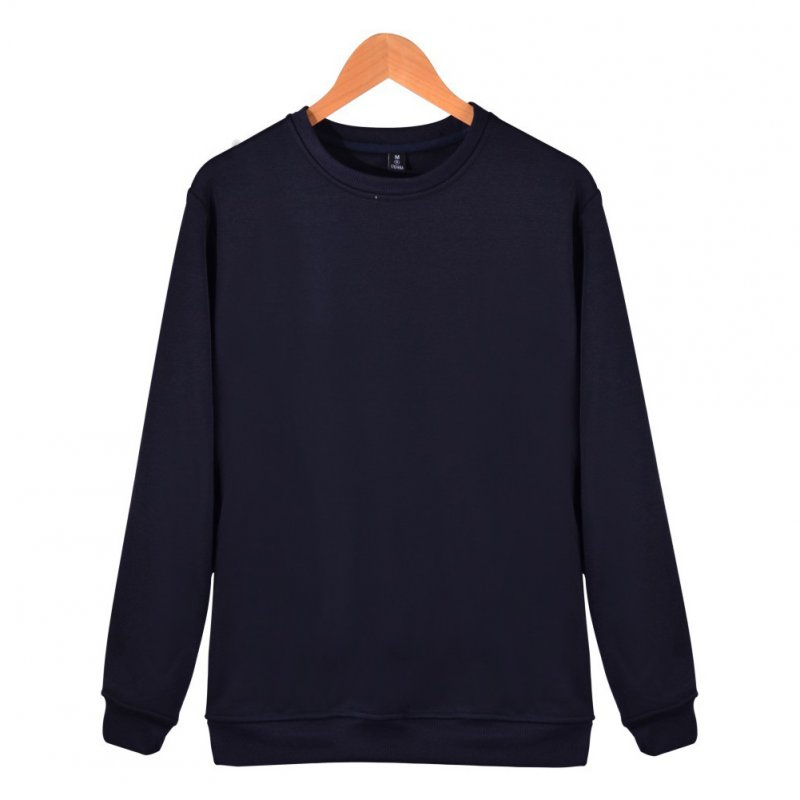 Men Solid Color Round Neck Long Sleeve Sweater Winter Warm Coat Tops Dark blue_XL
