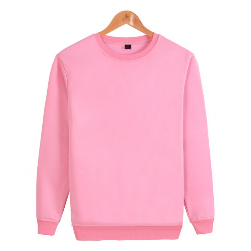 Men Solid Color Round Neck Long Sleeve Sweater Winter Warm Coat Tops Pink_XL