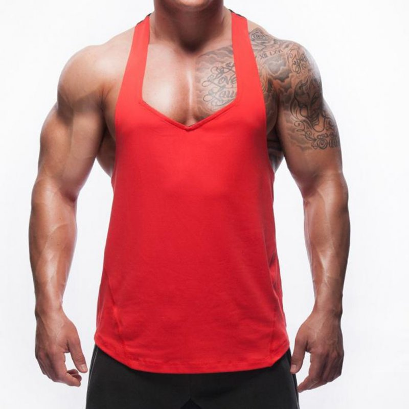Men Solid Color Splicing Vest for Home Outdoor Sports Fitness Wear red_XL