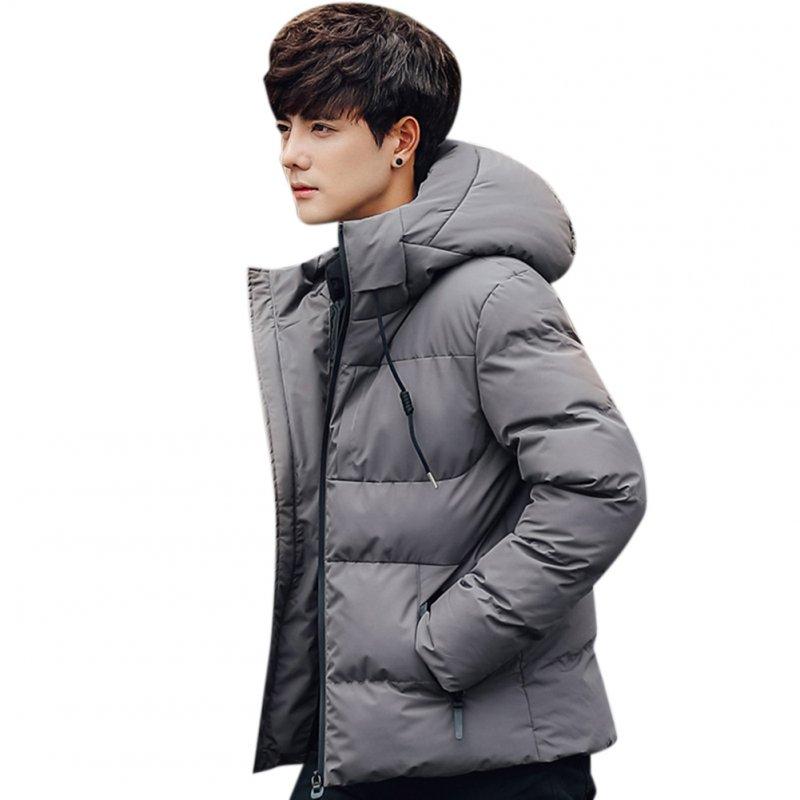 Men Solid Color Winter Coat Hooded Short Thicken Winter Warm Coat Cotton Jacket Dark gray_L