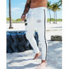 Men Splicing Broken Hole Slim Drawstring Jeans Pants LF1922 white_XL