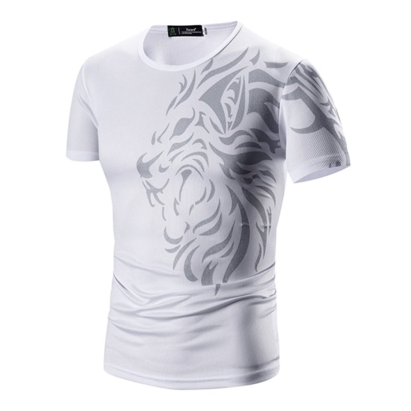 Men Sports  Printing T-Shirts - White M