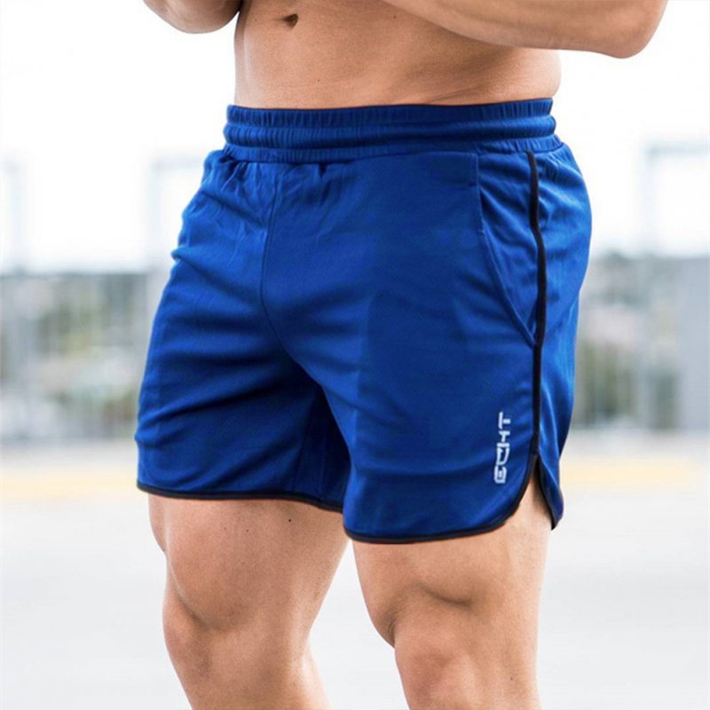 Men Sports Short Pants Quick-drying Elastic Cotton Leisure Pants blue_L