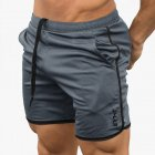 Men Sports Short Pants Quick-drying Elastic Cotton Leisure Pants gray_M