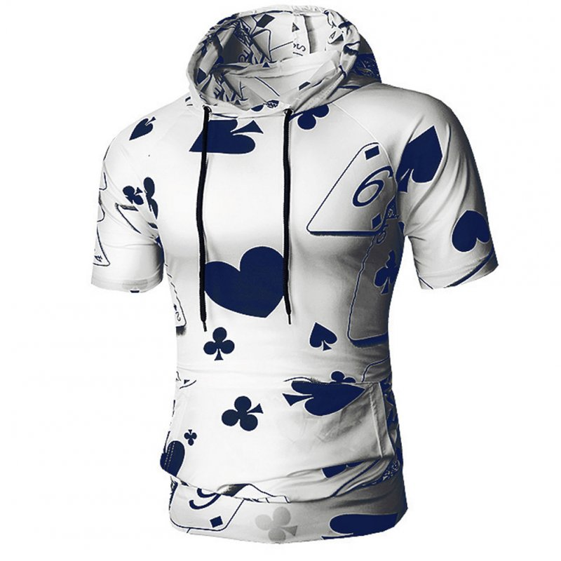 Men Spring And Autumn Playing Card Printing Simple Fashion Short Sleeve Hooded Shirt T-shirt Navy_M
