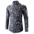 Men Spring And Autumn Simple Fashion Print Long Sleeve Shirt Tops black_L