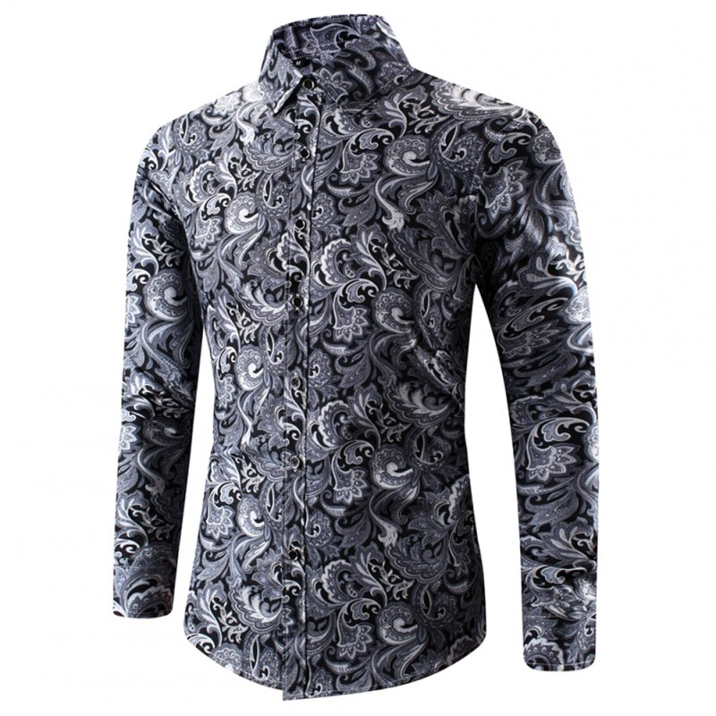 Men Spring And Autumn Simple Fashion Print Long Sleeve Shirt Tops black_4XL
