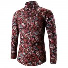 Men Spring And Autumn Simple Fashion Print Long Sleeve Shirt Tops red_XXL