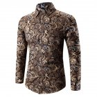 Men Spring And Autumn Simple Fashion Print Long Sleeve Shirt Tops Golden XL