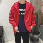 Men Spring And Autumn Thin Slim Long-Sleeved Jacket Hooded Top Coat red_M