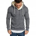 Men Spring Autumn Fashion Round Collar Button Decor Hooded Fleece SSpring Autumn  Dark gray_XXL