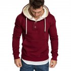 Men Spring Autumn Fashion Round Collar Button Decor Hooded Fleece SSpring Autumn  red_XXL