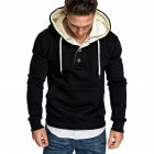 Men Spring Autumn Fashion Round Collar Button Decor Hooded Fleece SSpring Autumn  black_XXXL