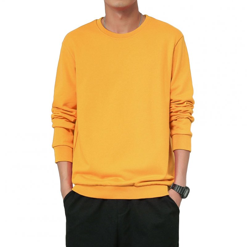 Men Spring Autumn Sweatshirts Casual Fashion Round Collar Coat yellow_M