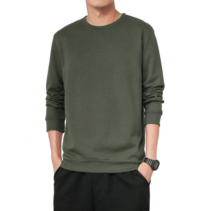 Men Spring Autumn Sweatshirts Casual Fashion Round Collar Coat ArmyGreen_L