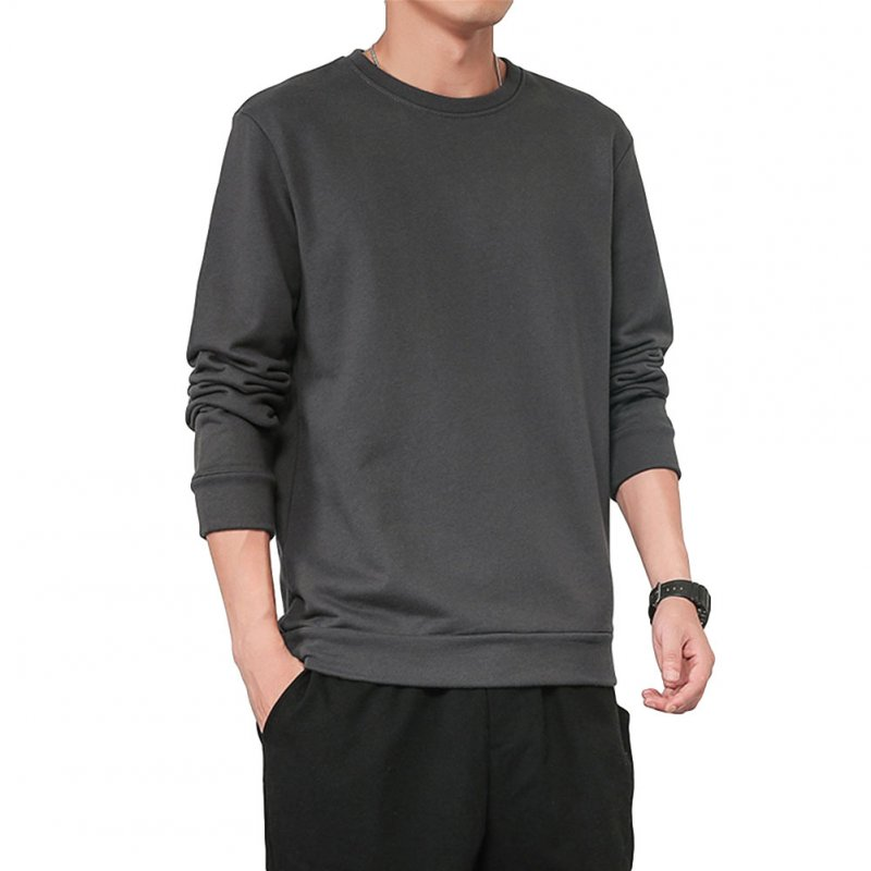 Men Spring Autumn Sweatshirts Casual Fashion Round Collar Coat Dark gray_XL