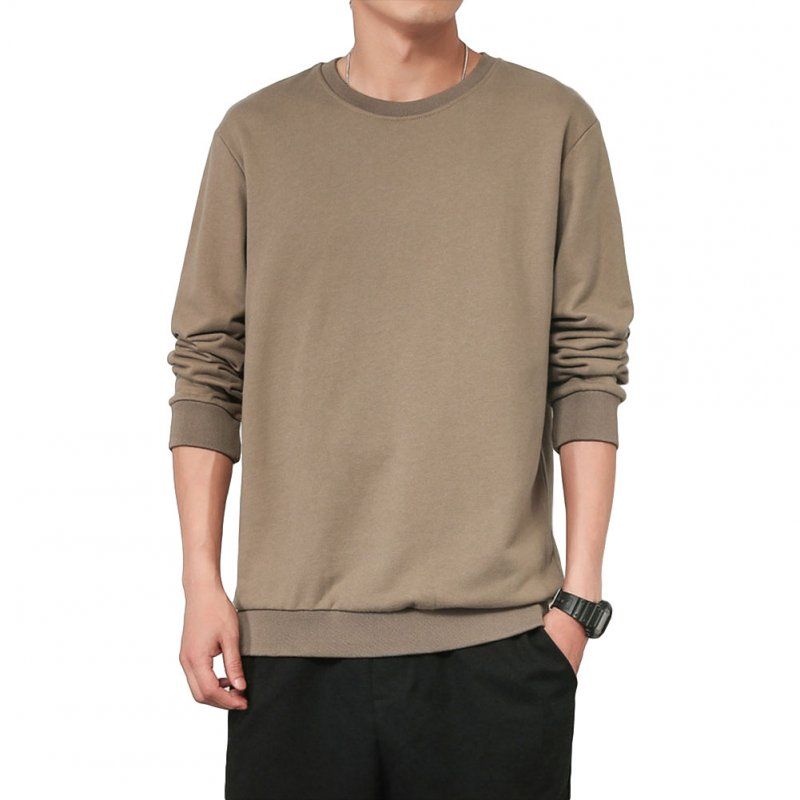 Men Spring Autumn Sweatshirts Casual Fashion Round Collar Coat light coffee_M