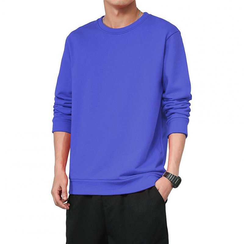 Men Spring Autumn Sweatshirts Casual Fashion Round Collar Coat Color blue_XL