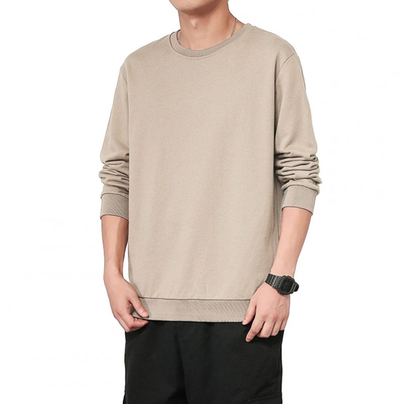 Men Spring Autumn Sweatshirts Casual Fashion Round Collar Coat Light apricot_L