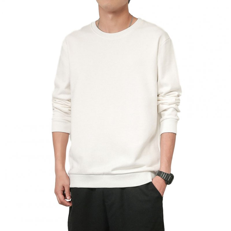 Men Spring Autumn Sweatshirts Casual Fashion Round Collar Coat white_XL